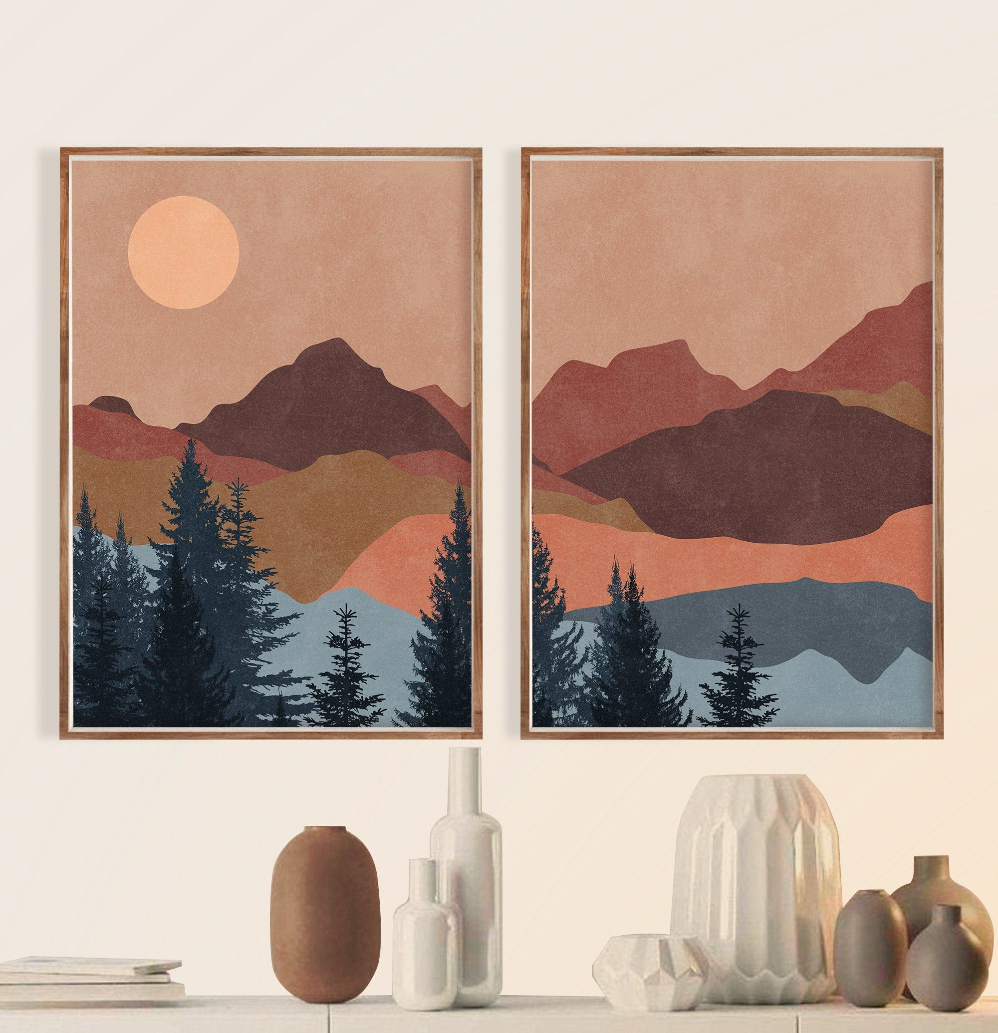 Terracotta Sun Mountain Wall Art Print Set Of 2 Mid Etsy Minimal Wall Art Mountain Wall Art Wall Art Prints