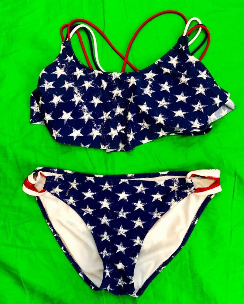 dea269f6ae32b Xhilaration American Flag 2 Piece Bikini Large XL Red White Blue  #Xhilaration #Bikini