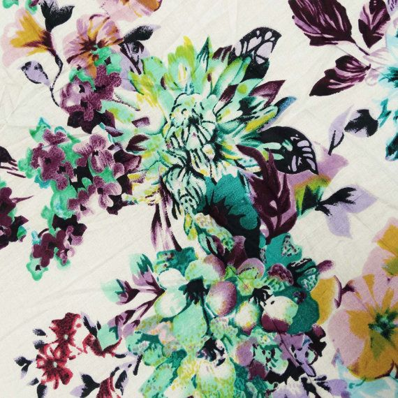 Dressmaking Crafting Cotton Fabric Floral Printed Supply Sewing By The Yard