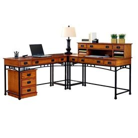 Homy Casa Babette L Shaped Desk With Bookshelves Dark Brown