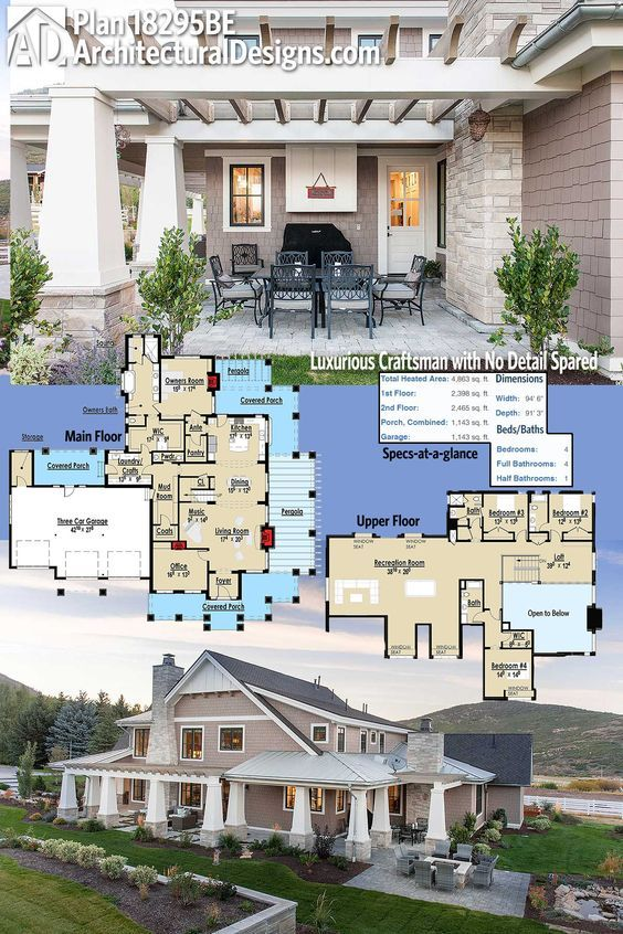 Roof Design Ideas: Plan 18295BE: Exclusive Luxury Craftsman With No Detail