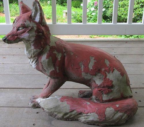 Captivating Vintage GARDEN Cement FOX STATUE Concrete YARD ART Antique 45 Pounds