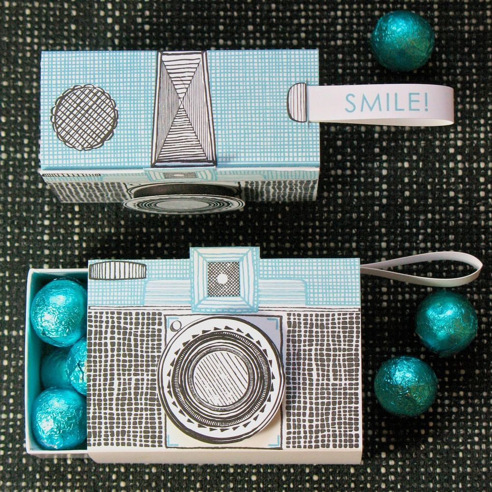 D. Sharp: Letterpress Camera Gift Box, Paper Candy Container ...