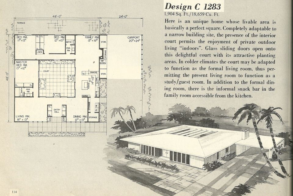 Mcm House Plan Design C 1283 Mid Century Modern House Plans Courtyard House Plans Vintage House Plans