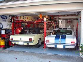 Mustangs in garage with Backyard Buddy Lift | Backyard ...