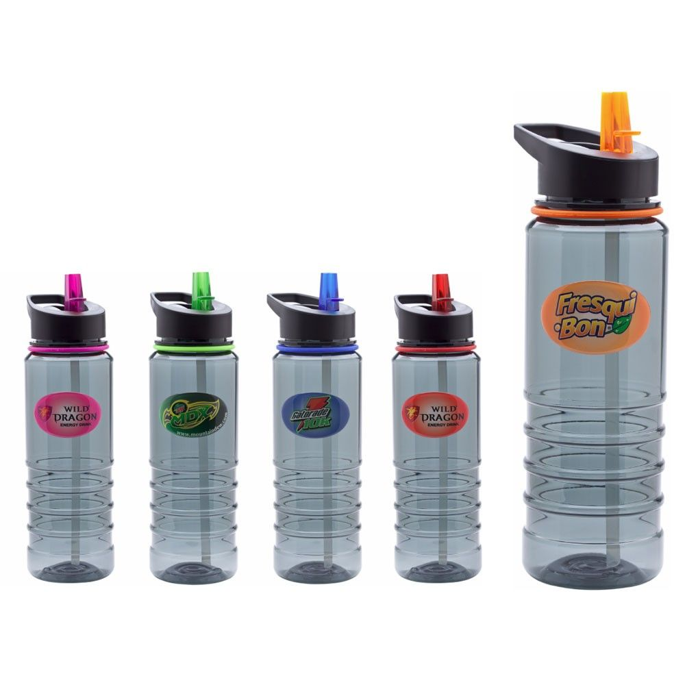 24oz Ribbed Full Color Dome Sports Bottle with straw