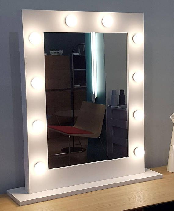 White makeup mirror bright lighting integrated