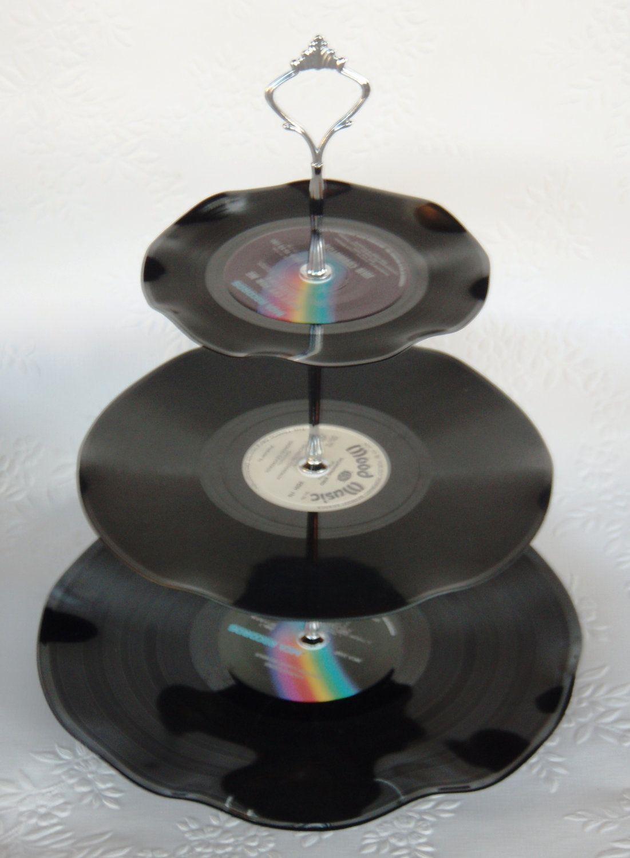 Record Cup Cake Stand 3 Tier Retro Rockabilly Wedding Rock n Roll 21st Birthday. $29.00, via Etsy.