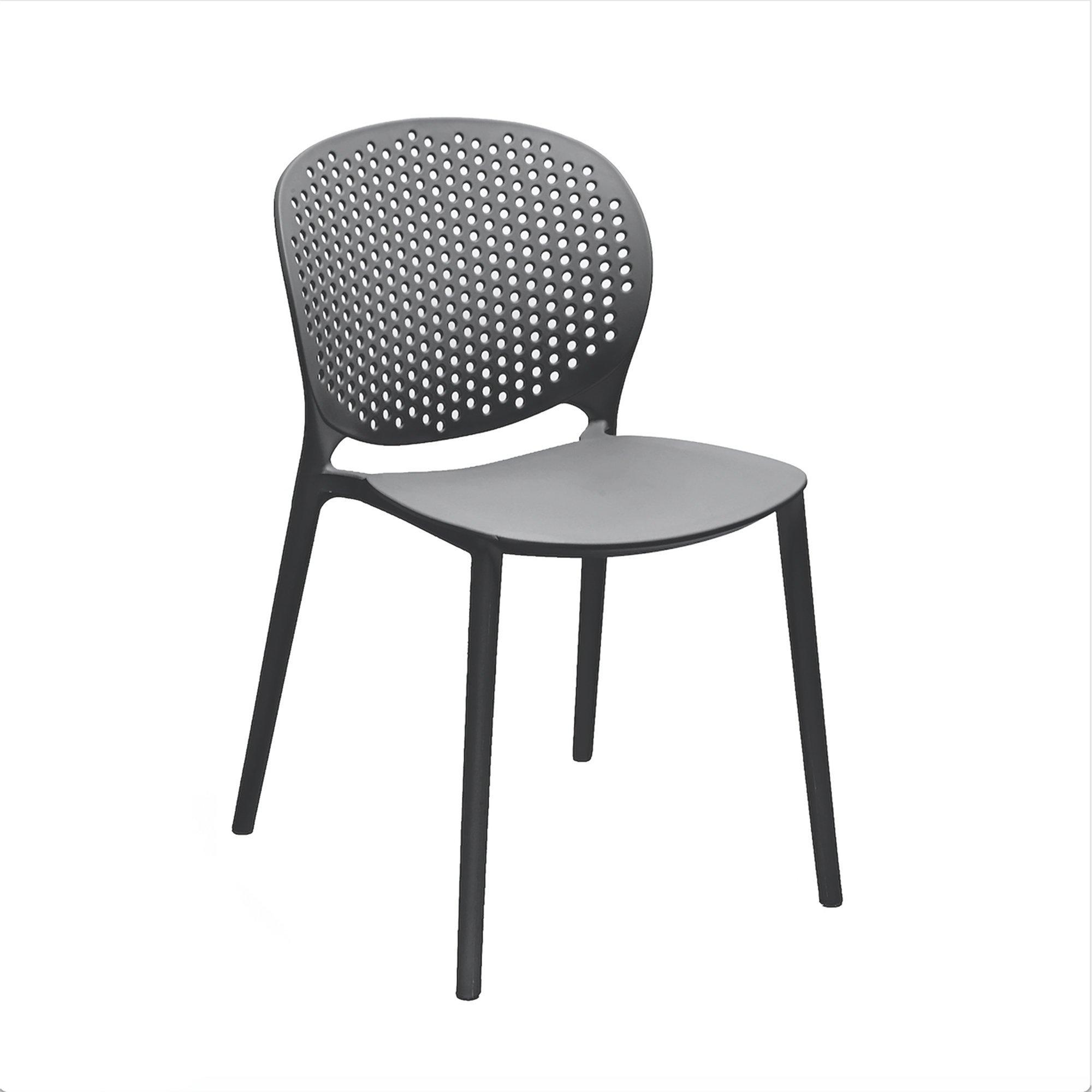 Muut Black Grey Modern Stackable Side Chair Set Of 4 Outdoor