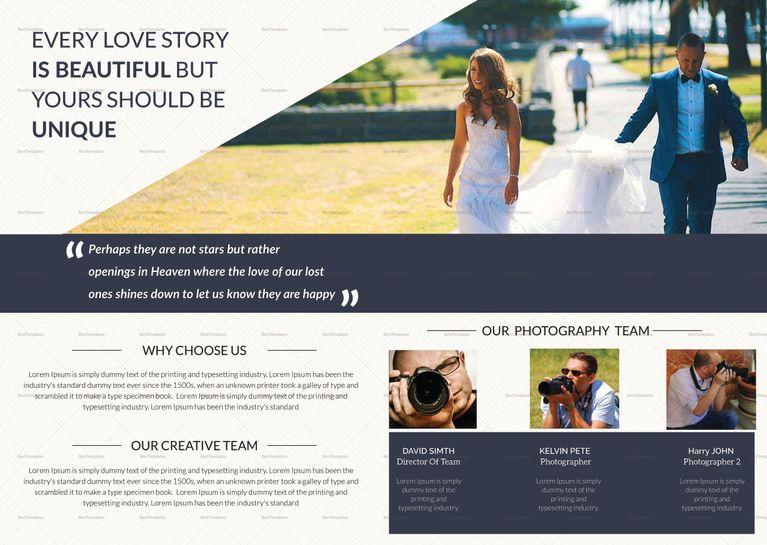 Wedding Photography Bi Fold Brochure Template $15 Formats Included - bi fold brochure template word