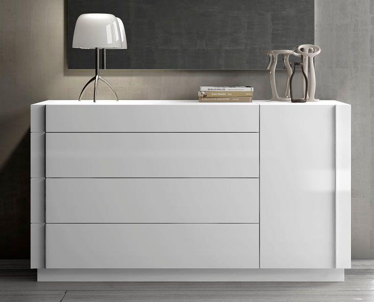 White Modern Platform Bed With Led Regard To Bedroom Dresser