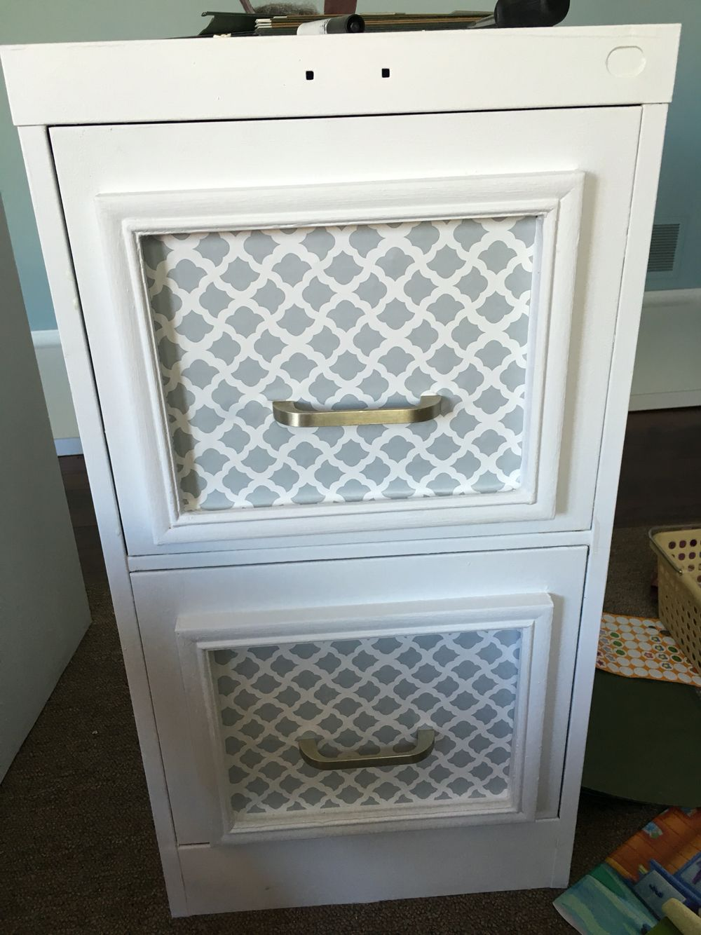 File cabinet makeover with Chalk paint, cheap frames & contact paper ...