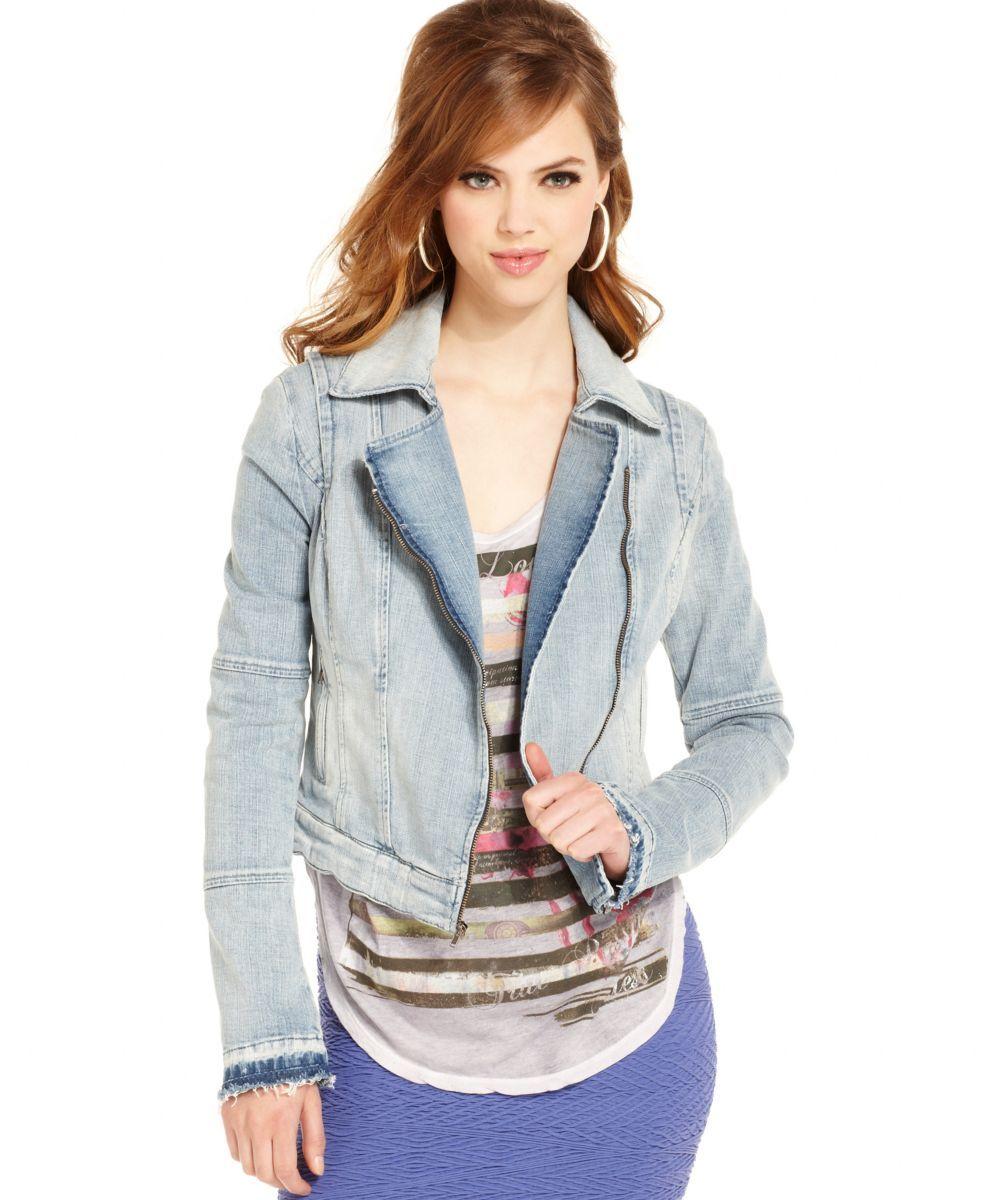 Guess Blue Denim Seamed ZipUp Motorcycle Jacket Coat