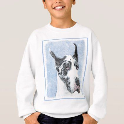 Great Dane Harlequin Painting Original Dog Art Sweatshirt
