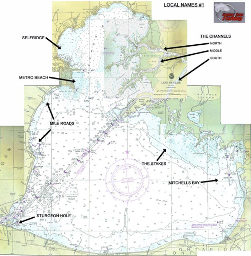 lake st clair fishing map Lake St Clair Local Names 1 Hot Spot Clair Lake lake st clair fishing map