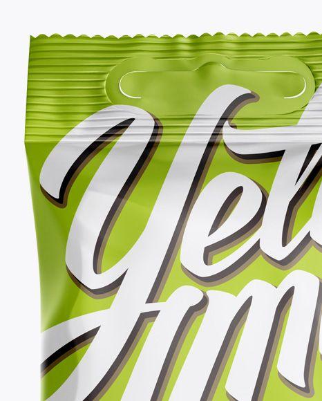 Glossy Snack Package Mockup - Hero Shot