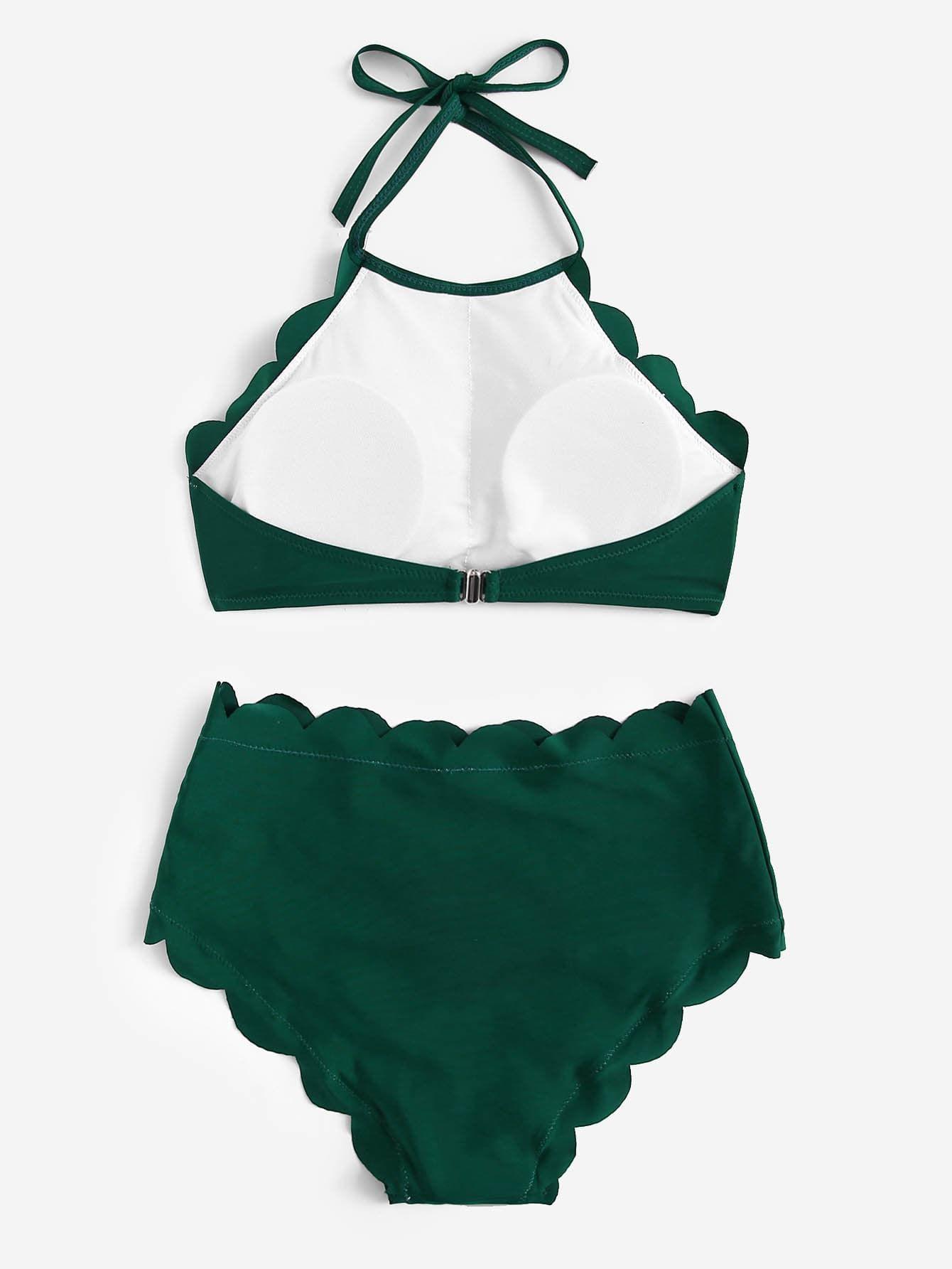 8bbb068e59068 Scalloped Trim Halter Top With High Waist Bikini Halter#Trim#Scalloped