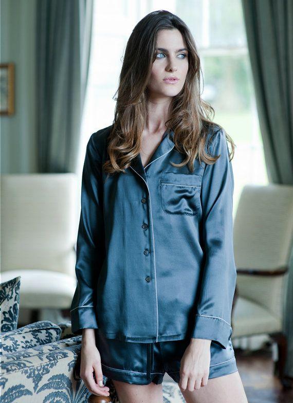 d23b689f55 Women s 100% Silk Pyjama Set - Short Silk Pyjama Set - Elegant Design -  Midnight Grey Colour