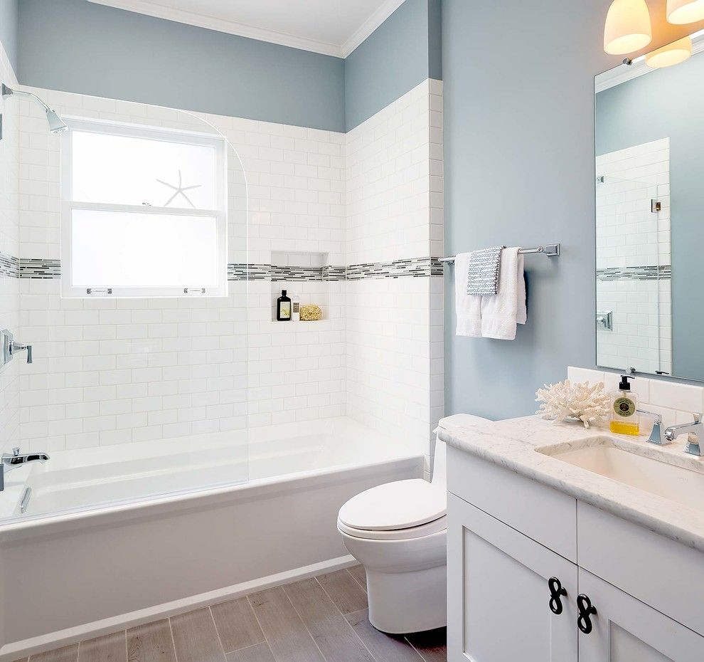 inspiration for a small beach style master tub shower combo remodel in san francisco with an