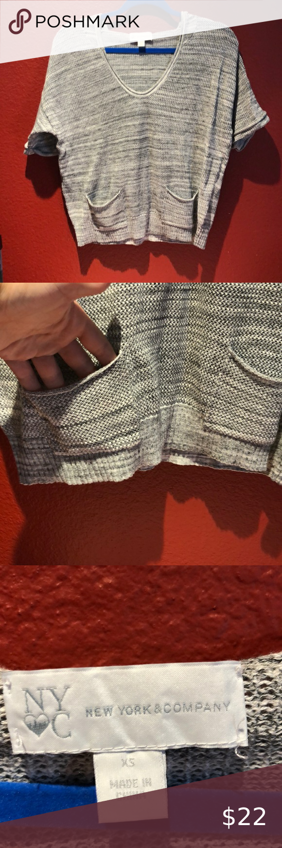 Photo of NY&C LIGHT grey Short Sleeve Sweater This sweater is super cute and fun! It's …
