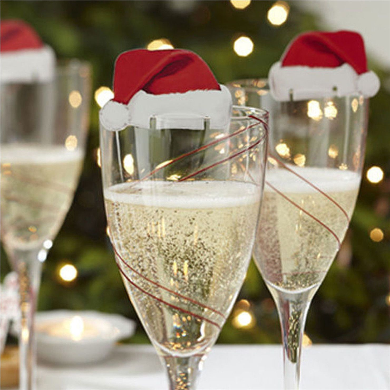 10Pcs Hot Christmas Santa Hats Cute Champagne Glass Xmas Party
