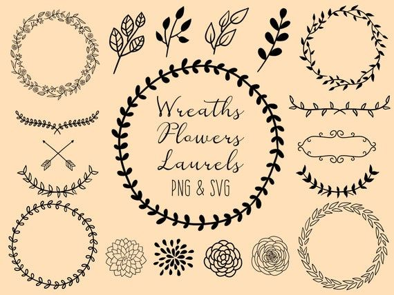 Photo of WREATHS FLOWERS LAURELS, hand-drawn wreaths, doodle clipart, floral wreaths, rustic, drawn wreaths, png, svg, wedding, cricut, vector art