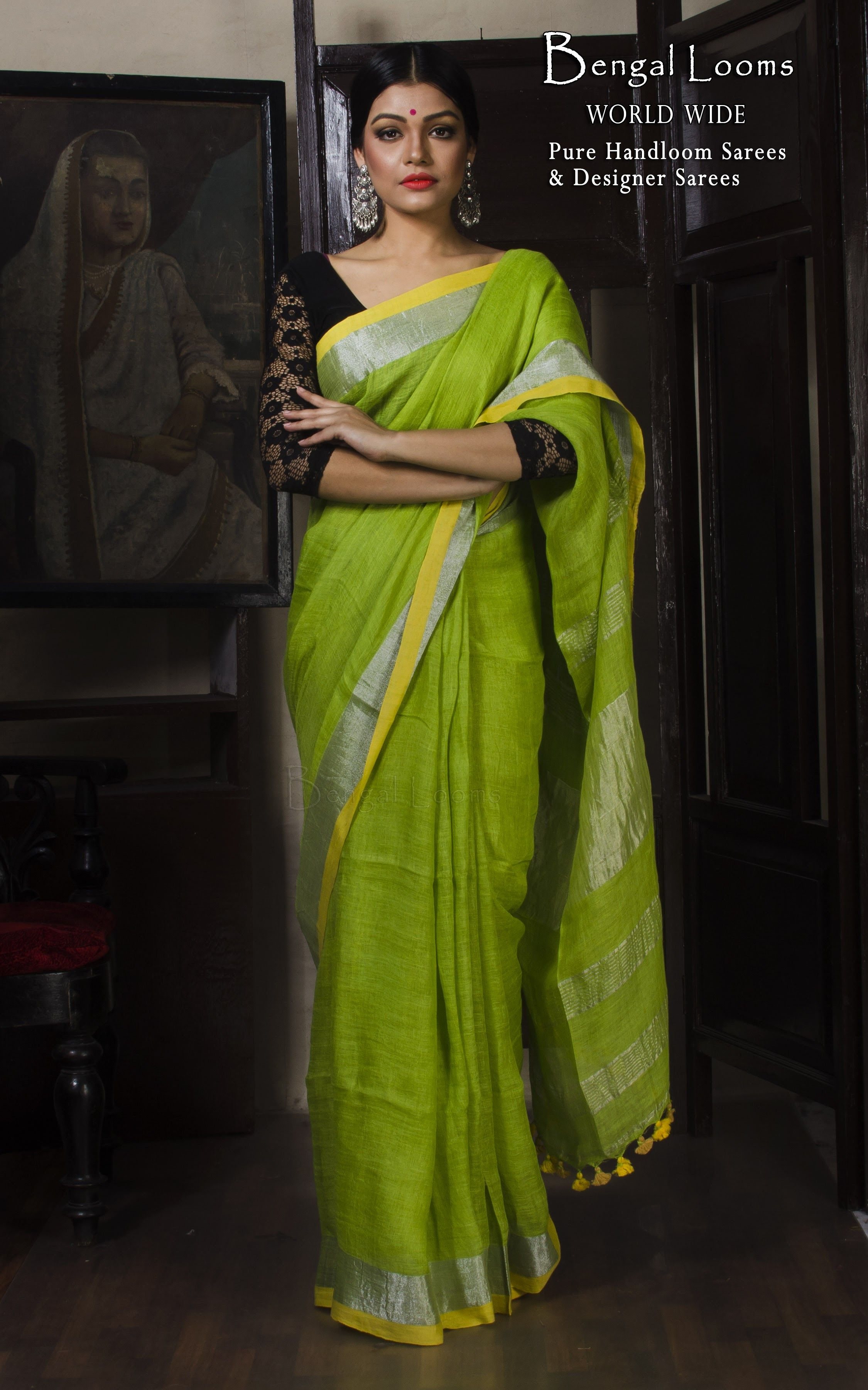 Pure Handloom Linen Saree In Lime Green With Solid Silver