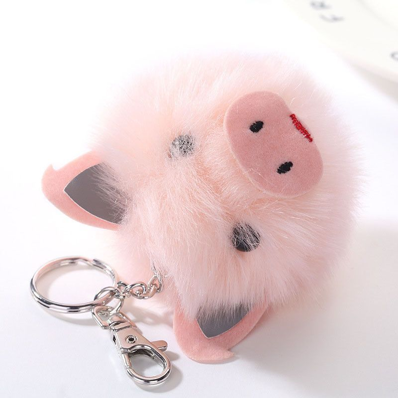 Cute PomPom Pink Pig Keychain Faux Rabbit Fur Fluffy Panda Charm Car Bag  KeyRing d84f3ef2f777