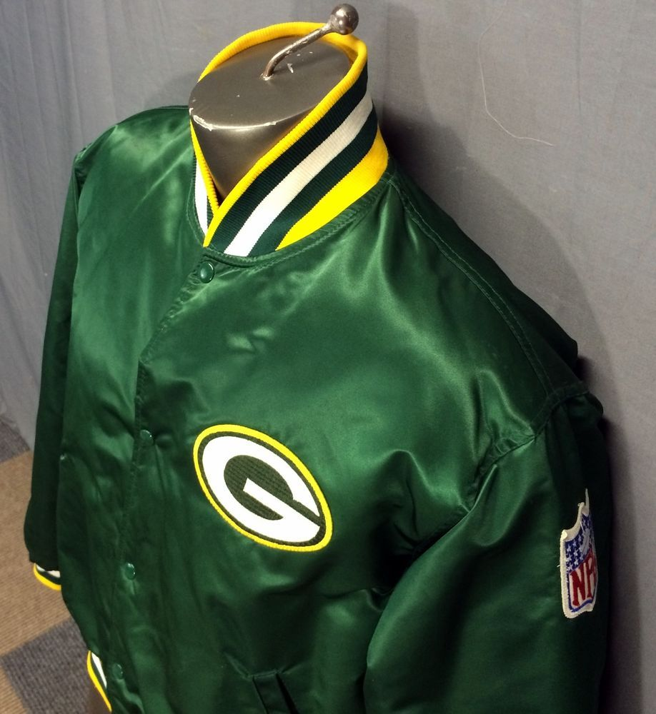 VINTAGE 80s STARTER NFL PRO LINE GREEN BAY PACKERS SATIN BOMBER JACKET MENS  L-XL  Starter  GreenBayPackers df23fb09a