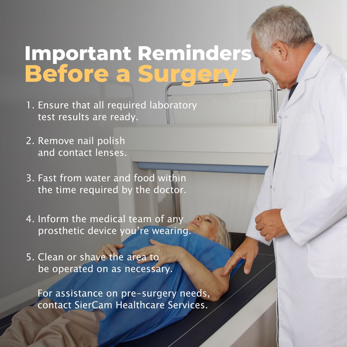 Important Reminders Before a Surgery Reminder