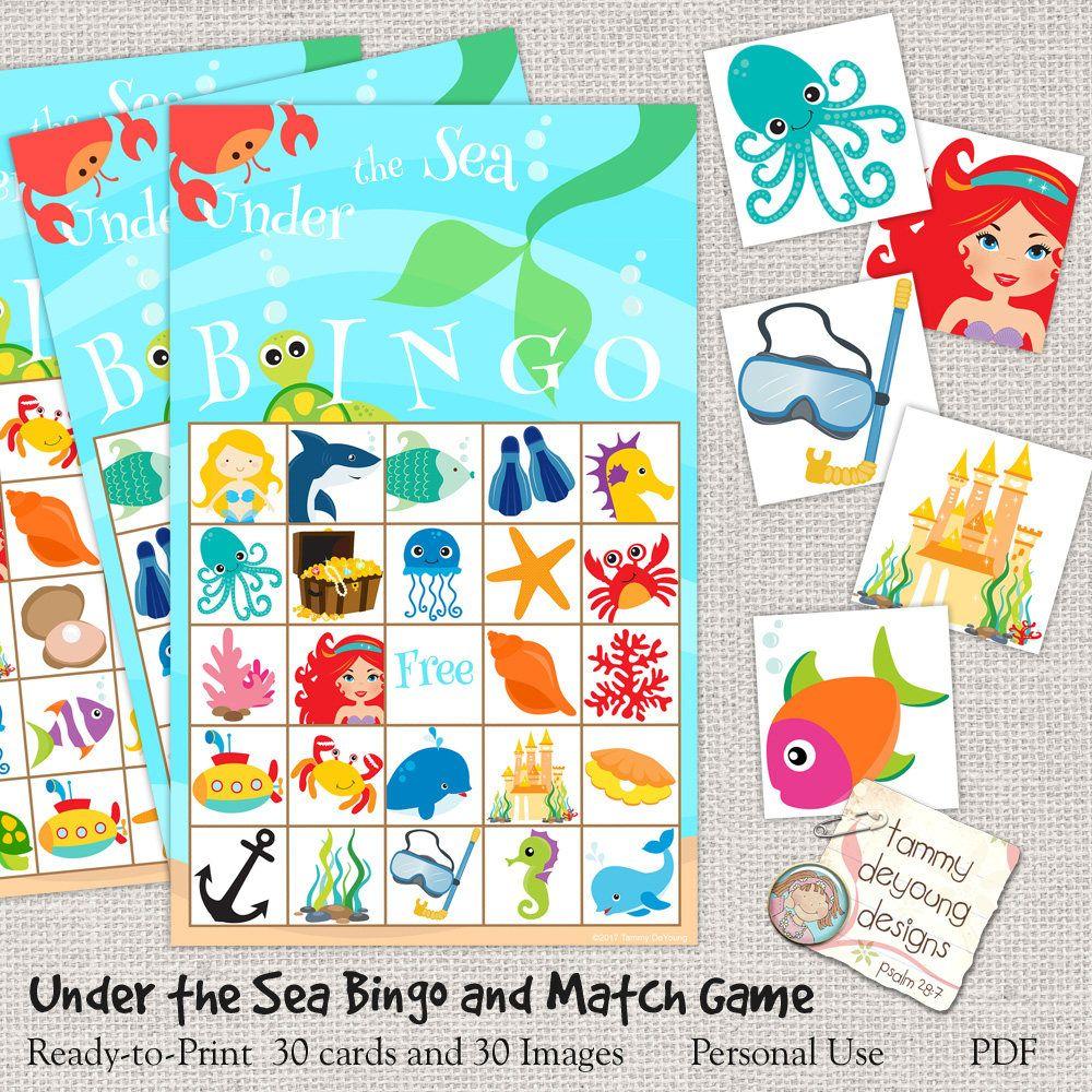 Digital Under the Sea Bingo, Printable Mermaid Bingo ...