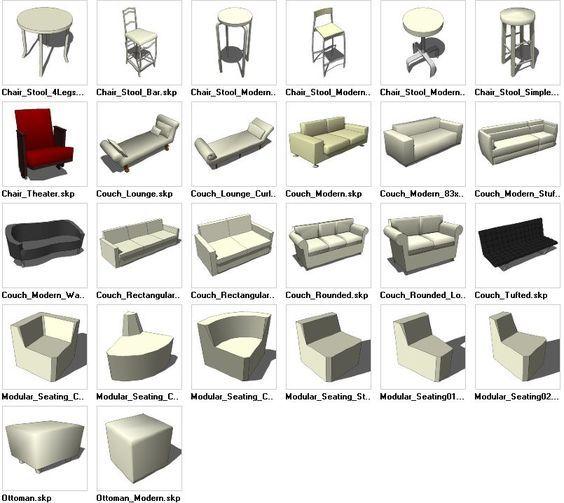 sketchup seating 3d models download cad design free