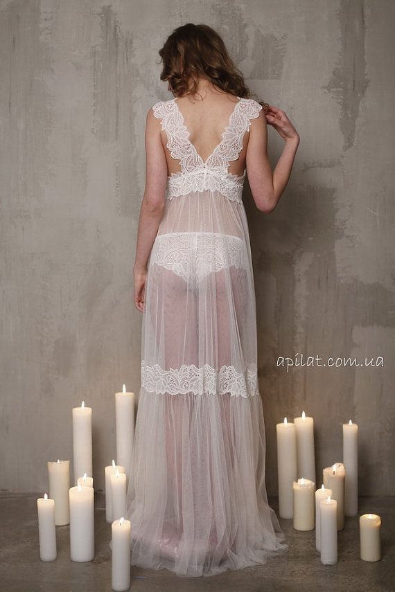 a56d407c553 Long Tulle Bridal Nightgown With Lace F11Lingerie by Alingerie ...