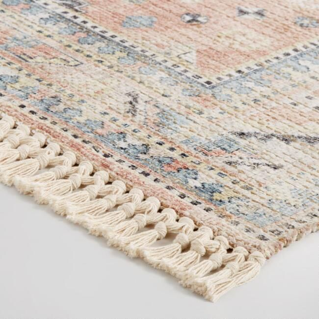 Peach And Blue Persian Style Chenille Oasis Area Rug V2