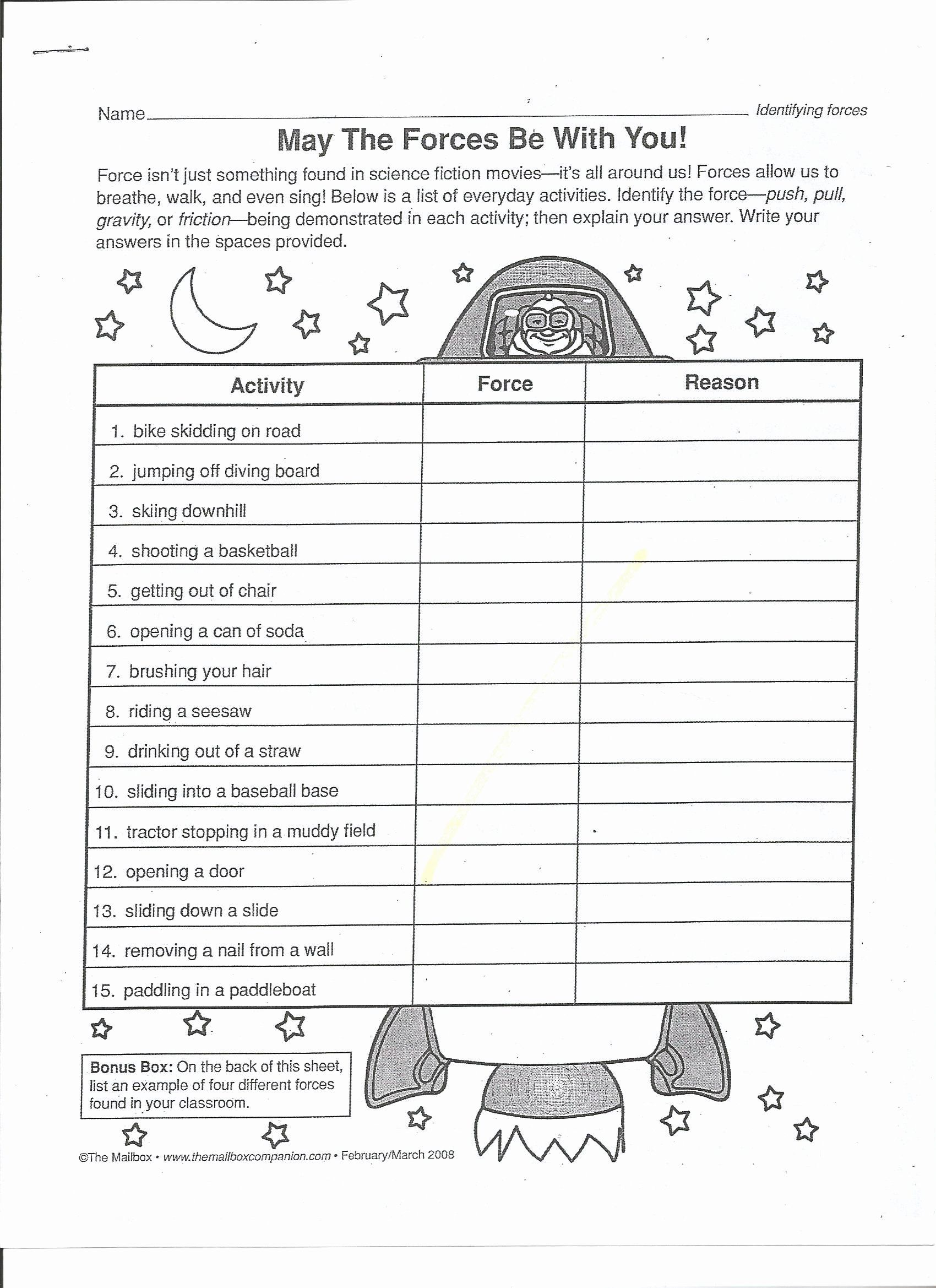 medium resolution of Forces and Motion Worksheet Elegant Balanced and Unbalanced forces Worksheet  3rd Grade   Force and motion