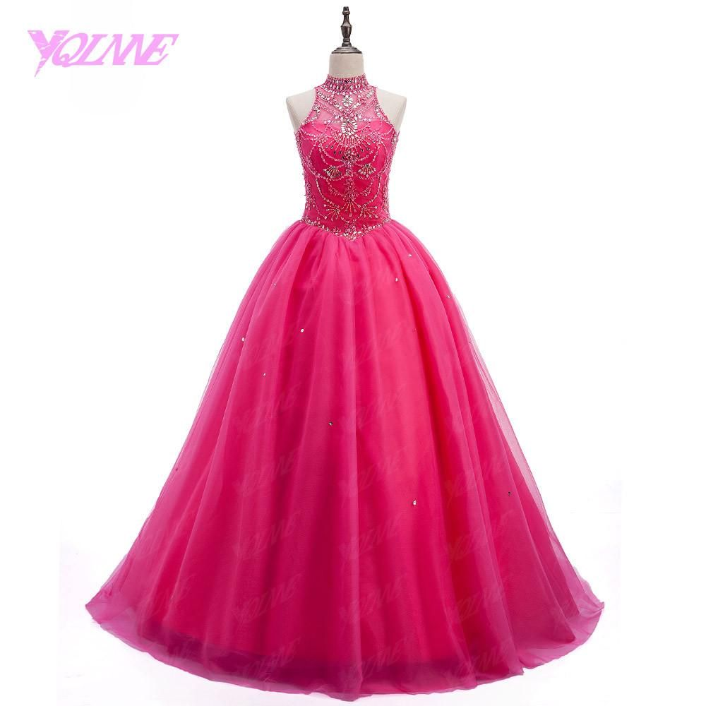YQLNNE Debutante Crystals Quinceanera Gown Dresses Sweet 16 Dress ...