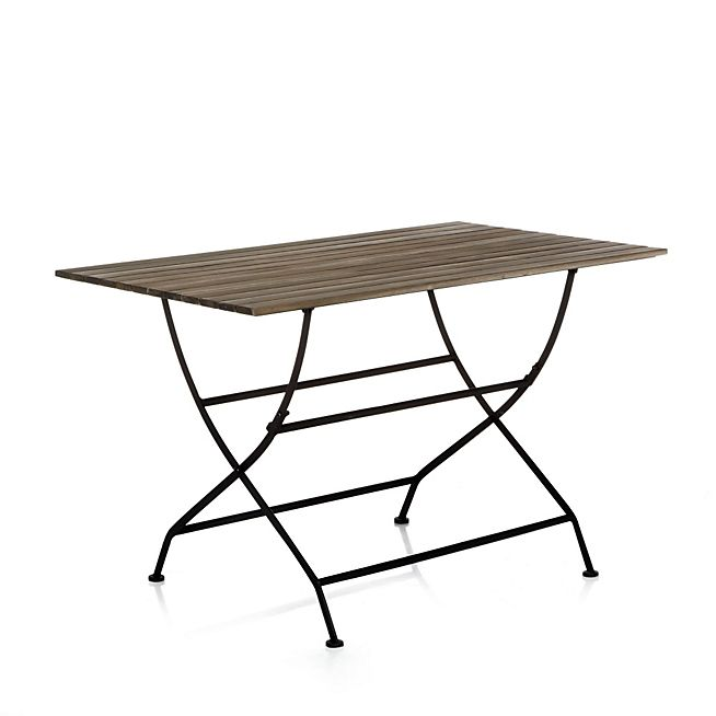 Montego Table Pliante En Fer Forge Et Acacia 105 Mobilier De