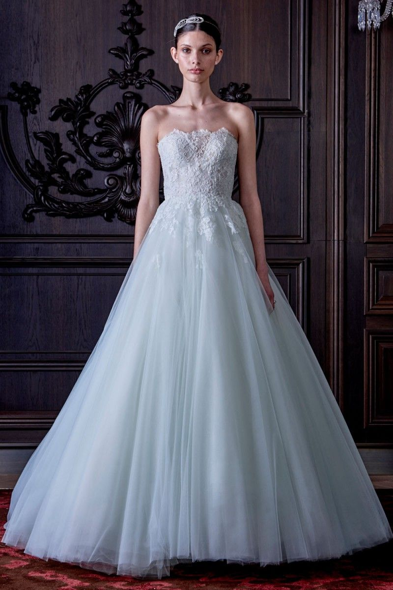 White and blue wedding dress  Monique Lhuillier Spring  Wedding Dresses   wedding dresses