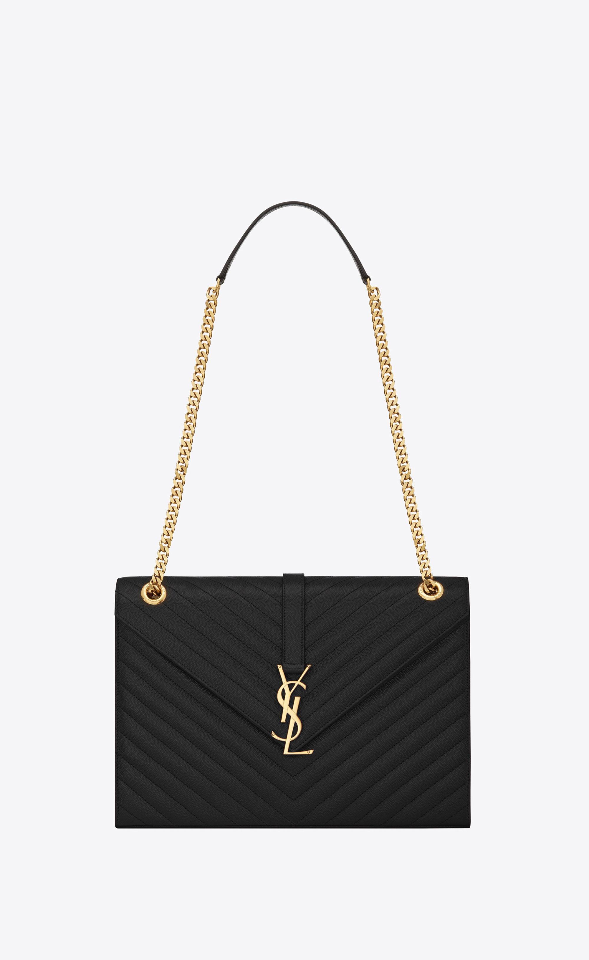 Saint Laurent Large Envelope Chain Bag In Black Textured Matelassé Leather   976639a66bfa4