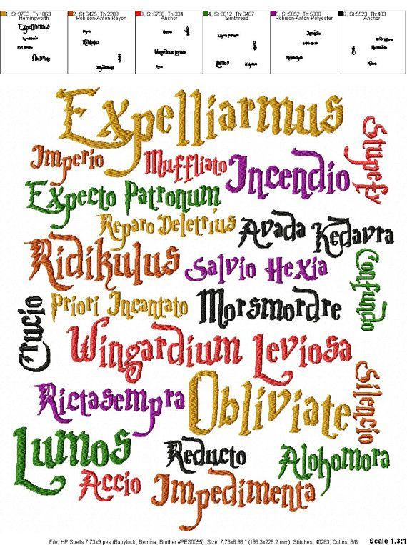 Harry Potter Zauber Stickerei Design Harry Potter Harry Potter Decke Harry Potter Zauberspruche Handlettering Zitate