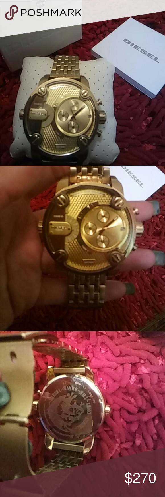 Diesel watch This is a mans diesel watch, Gold, sturdy beautiful watch. Very masculine presence. No trades! Comes with original box & watch pillow. Also have reciept proof. Reasonable offers accepted! Diesel Accessories Watches
