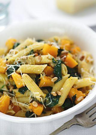Pumpkin, spinach, pine nut & Parmesan pasta