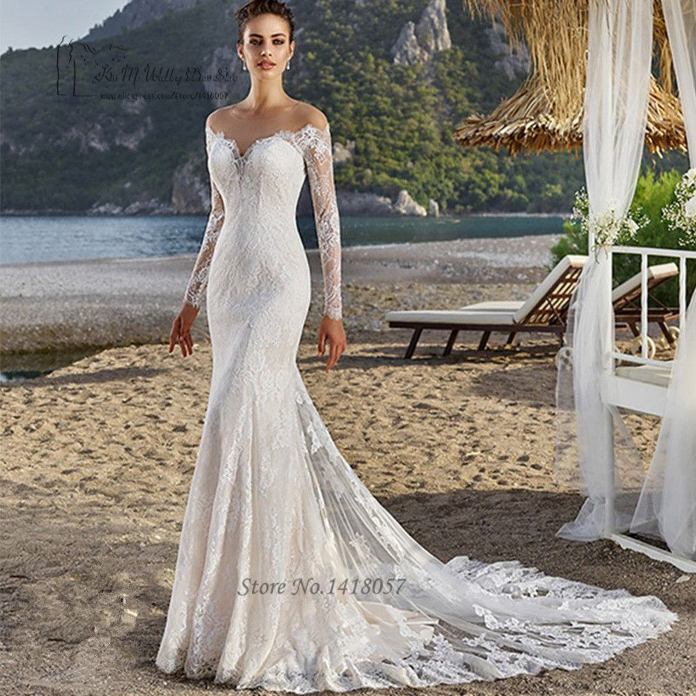 Russian Style Mermaid Wedding Dresses Lace Long Sleeve Wedding Gowns ...