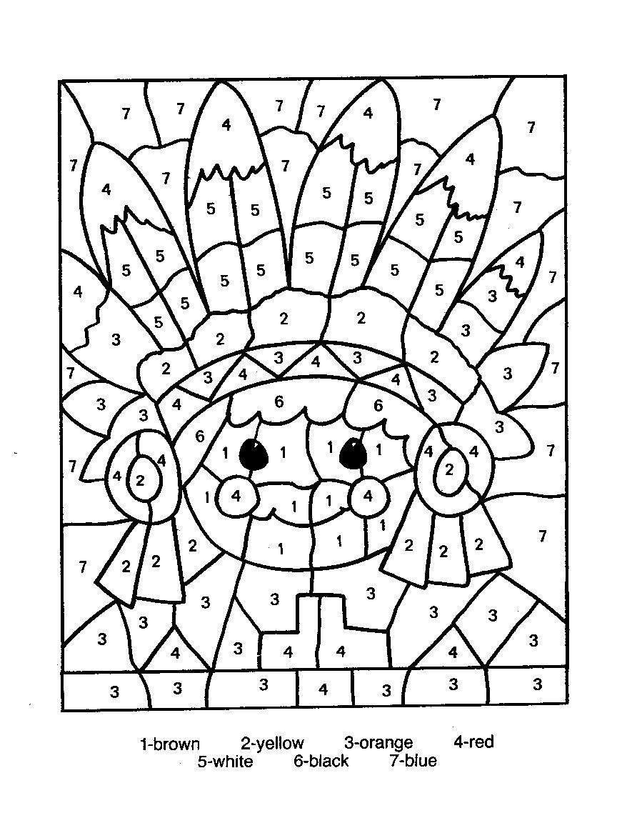 printable color by number thanksgiving coloring pages