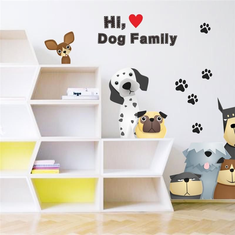 Family Dog Paw Door Refrigerator Wall Stickers For Kids Room Pet Home Decoration Wall Decals Mural Arts Poster Wall Stickers Kids Room Decals Pet Furniture