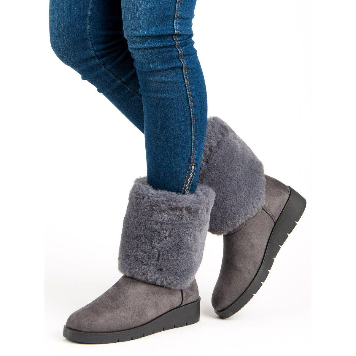 Kylie Modne Obuwie Zimowe Szare Snow Boots Women Winter Shoes Footwear