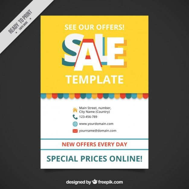 Cute sale brochure template Free Vector Typesetting Pinterest - for sale template free