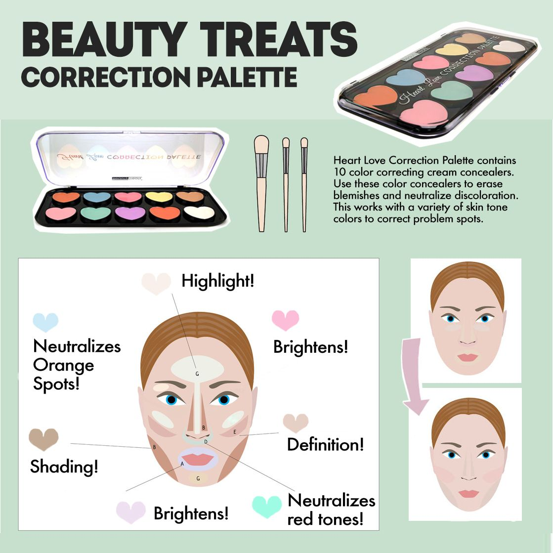Heart Love Correction Palette contains 10 color correcting