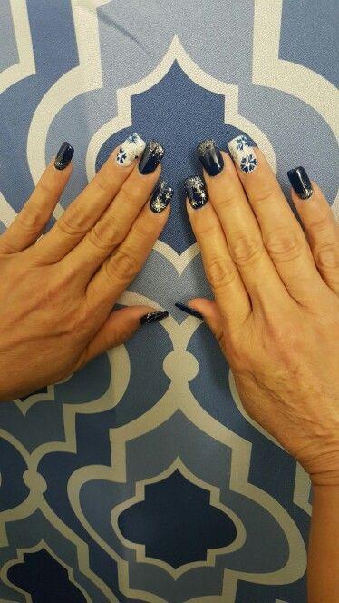 christmas blue n sparklenail art by kim of lovely nails guam usa
