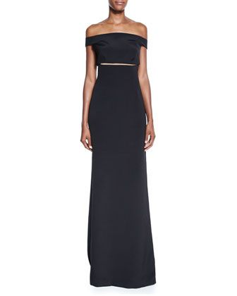 Off-the-Shoulder+Slit-Waist+Gown,+Black+by+Kaufman+Franco+at+Neiman+Marcus.